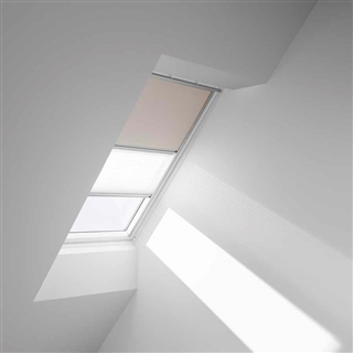 VELUX 550mm x 980mm Duo Pleated and Blackout Blind Beige/White  DFD CK04 0002S