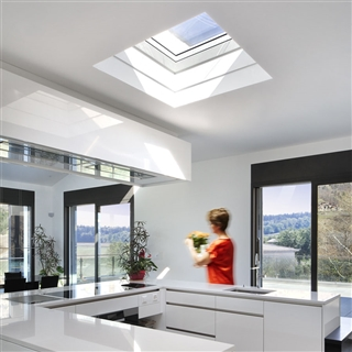 VELUX 1200mm x 1200mm Integra Electric Clear Polycarbonate Flat Roof Window without Ventilation  CVP 120120 S06G