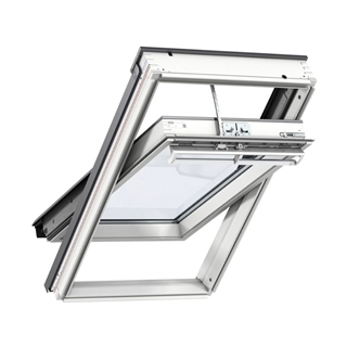 VELUX 550mm x 980mm Integra Solar White Painted Finish Centre Pivot Roof Window --60 Pane  GGL CK04 2060R30