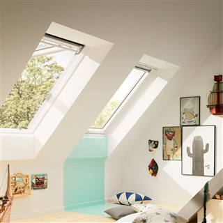 VELUX 660mm x 1180mm White Painted Finish Top Hung Roof Window --66 Pane  GPL FK06 2066