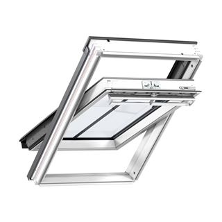 VELUX 660mm x 1180mm Conservation White Painted Finish Centre Pivot Roof Window with Plain Tile Flashing  GGL FK06 SD5P2