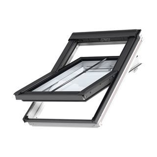 VELUX 780mm x 1400mm Conservation White Painted Finish Centre Pivot Roof Window with Plain Tile Flashing  GGL MK08 SD5P2