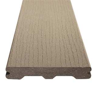 25mm x 140mm Trex Composite Decking Contours Grooved Board 3.66m Pebble Grey