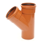 Polypipe Underground Drain 110mm 45° Double Socket Equal Junction UG406