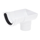 Polypipe Half Round Rainwater 112mm Short Stop End Outlet to 68mm Round Downpipe White RR106