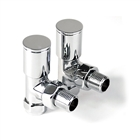 15mm Modern Angled Radiator Valve Chrome (Pair)